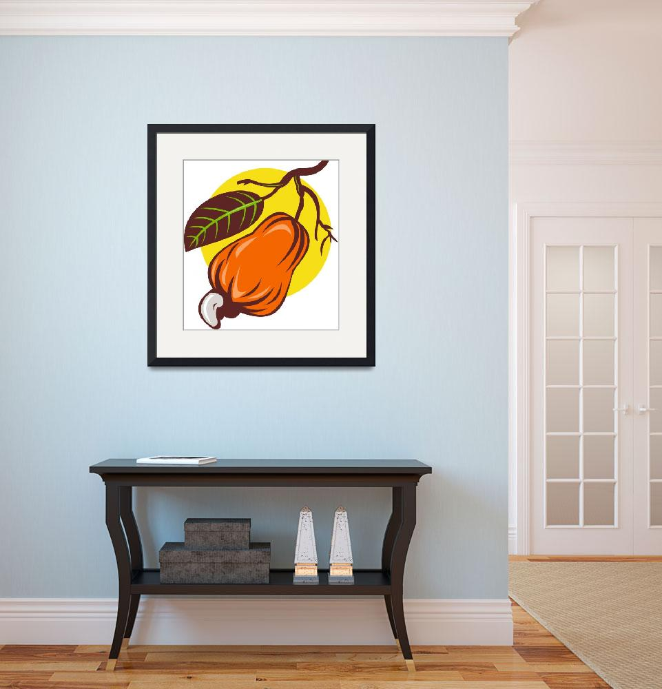 """""""cashew nut and fruit with leaf woodcut&quot  (2013) by patrimonio"""