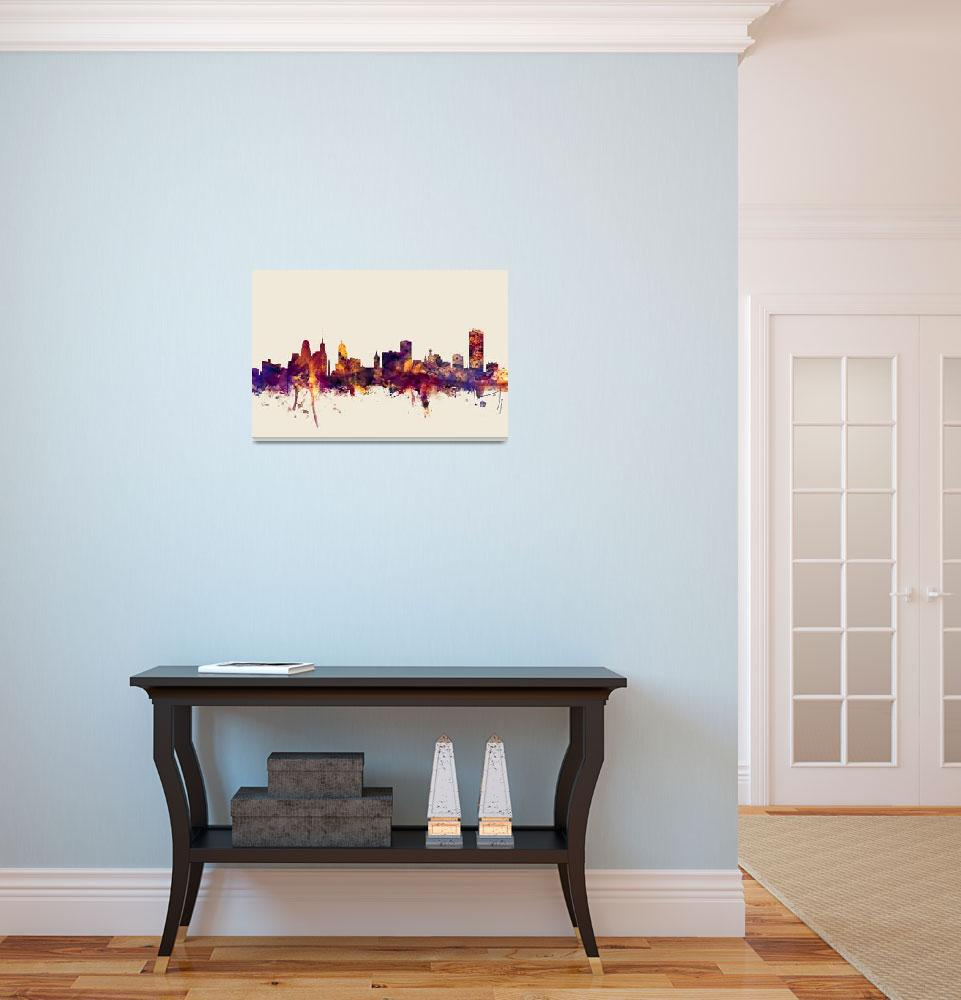 """Buffalo New York Skyline""  (2015) by ModernArtPrints"