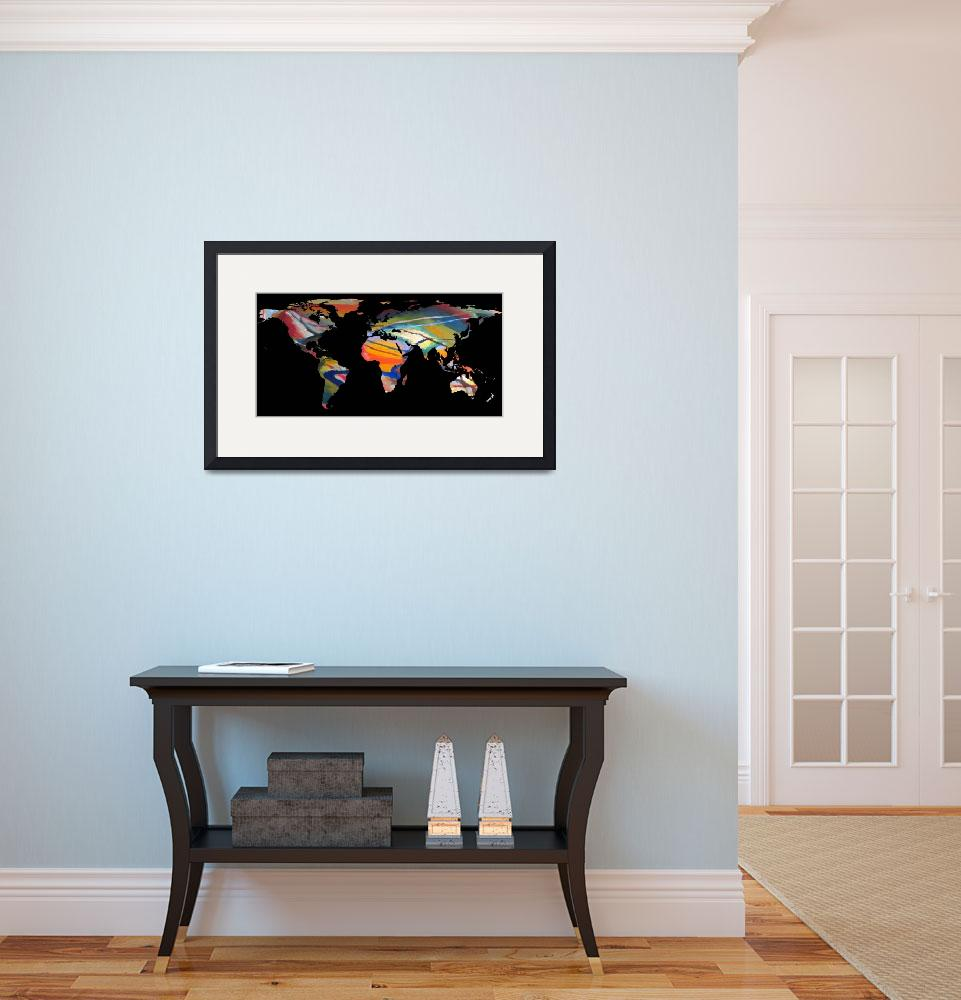 """""""World Map Silhouette - An Abstract World""""  by Alleycatshirts"""