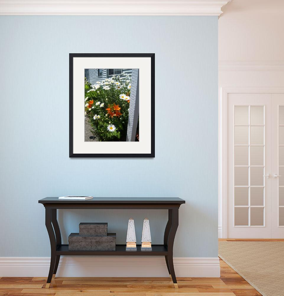 """""""White Daisys with Orange Day Lilies""""  by berryjune"""