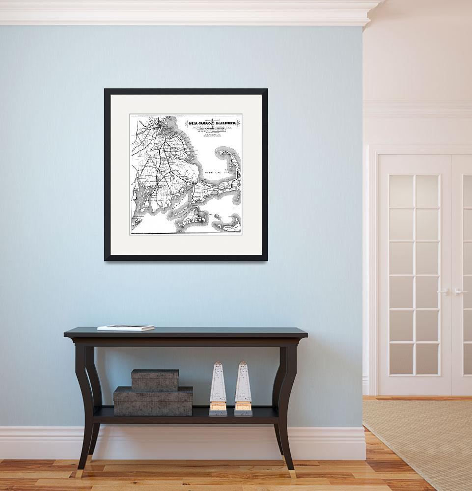 """Vintage Cape Cod Old Colony Railroad Map (1875)&quot  by Alleycatshirts"
