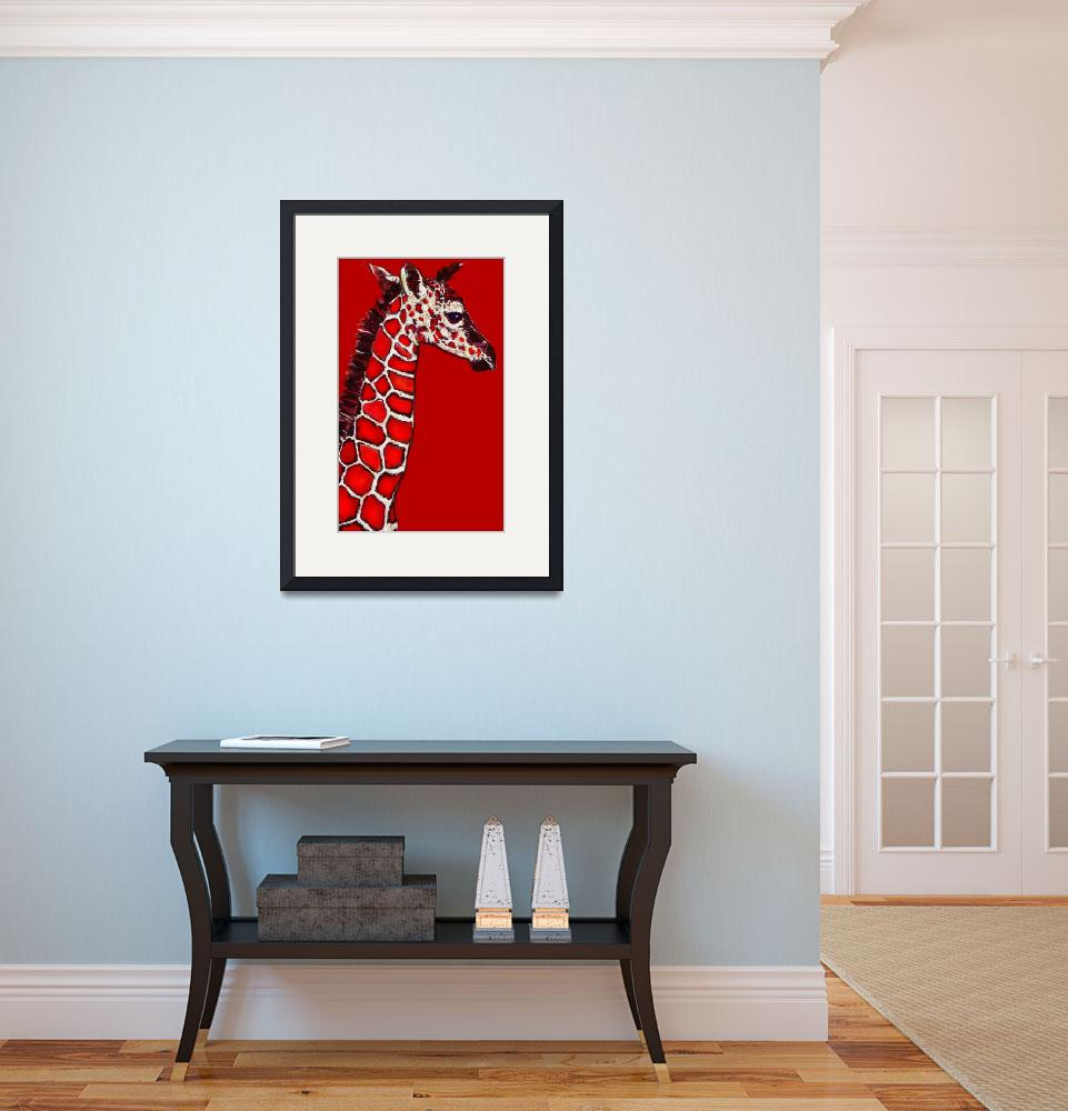 """""""baby giraffe in red,white and black&quot  (2013) by pietrastone"""