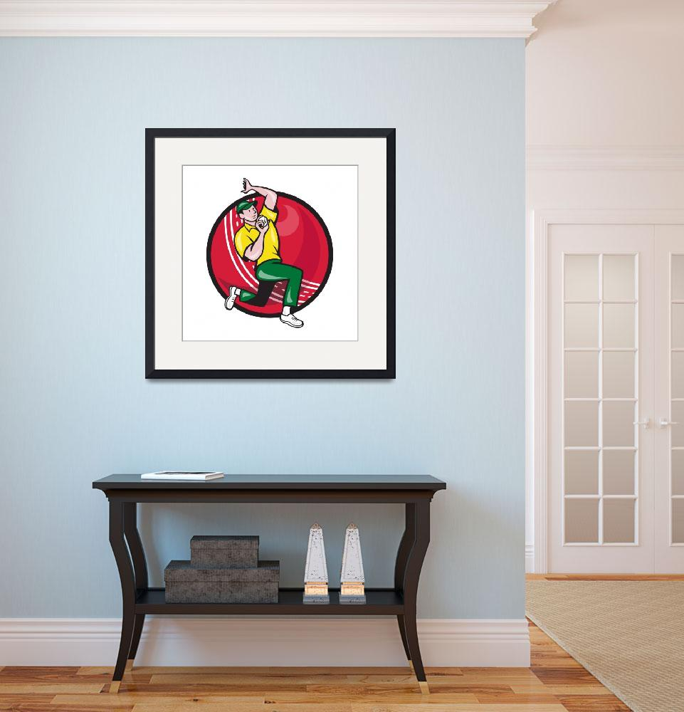 """""""Cricket Fast Bowler Bowling Ball Side&quot  (2014) by patrimonio"""