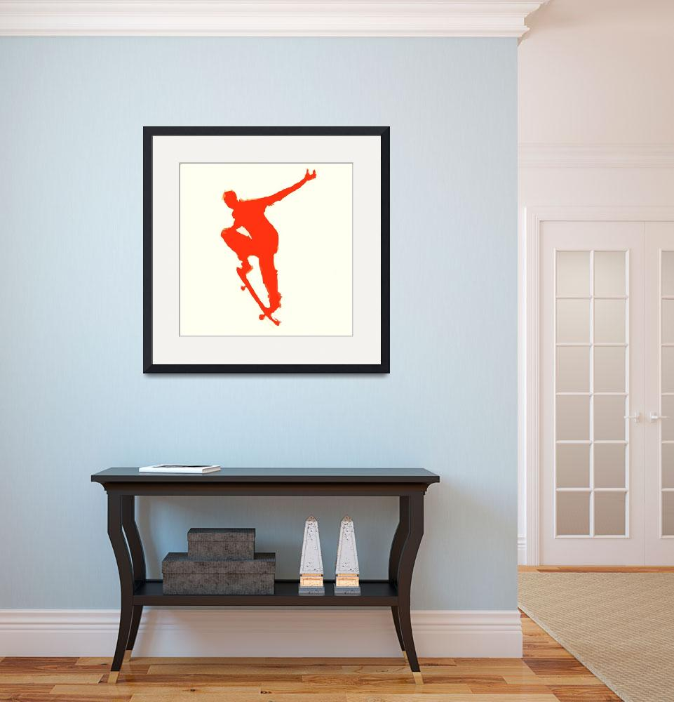 """""""Skateboarder 1 . tan red (c)""""  (2014) by edmarion"""
