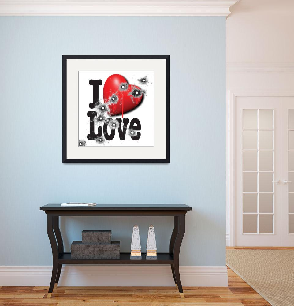 """""""Heart Series Love Bullet Holes In Paintings&quot  (2014) by RubinoFineArt"""