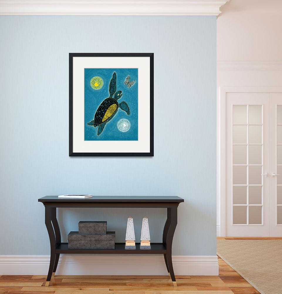 """Sea Turtle and Butterfly (Pinta Blue Version)&quot  (2009) by MickSylvestre"