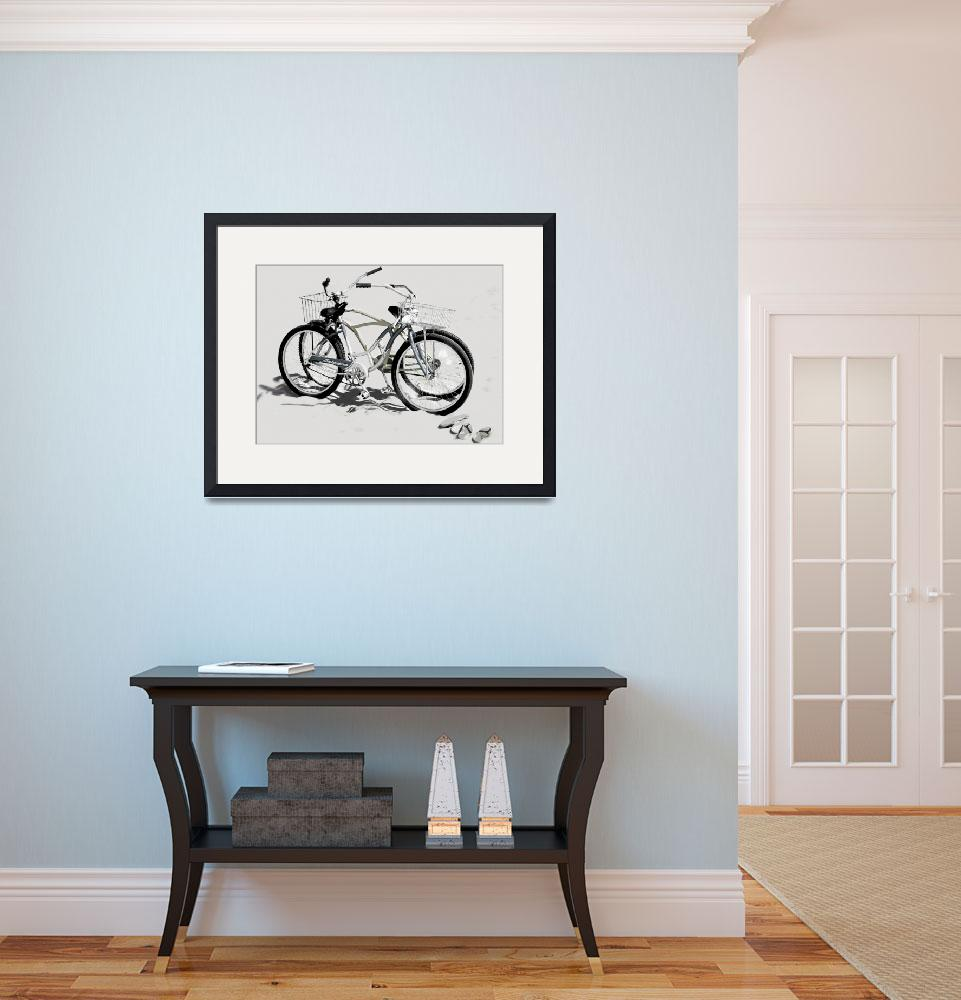 """Bikes on the Beach Gray""  (2008) by LeslieTillmann"