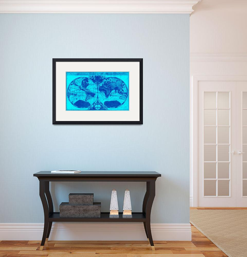"""""""World Map (1691) Light Blue & Blue&quot  by Alleycatshirts"""