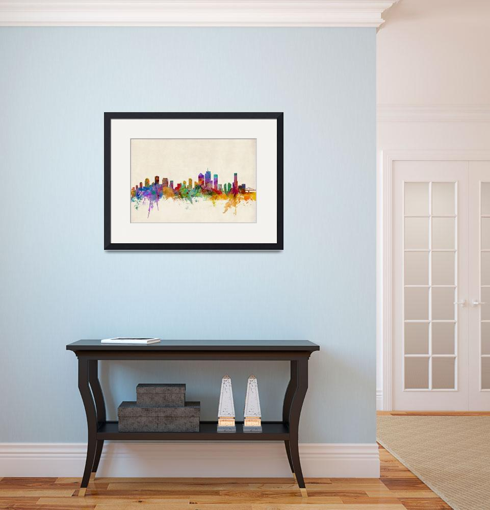 """Brisbane Australia Skyline&quot  (2013) by ModernArtPrints"