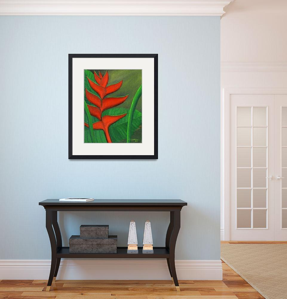 """Tropical Beauty - Red and Green Heliconia&quot  (2011) by mariawilliams"