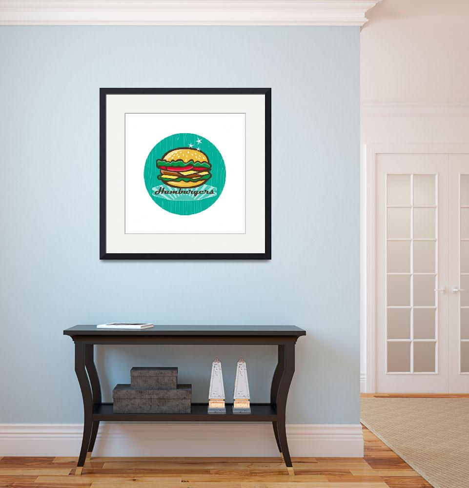 """Retro 1950s Diner  Hamburger Circle&quot  (2016) by patrimonio"