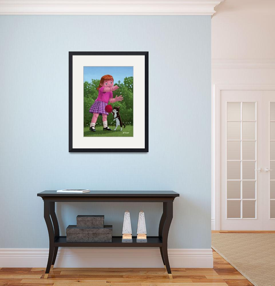 """""""cat and girl playing&quot  (2011) by martindavey"""