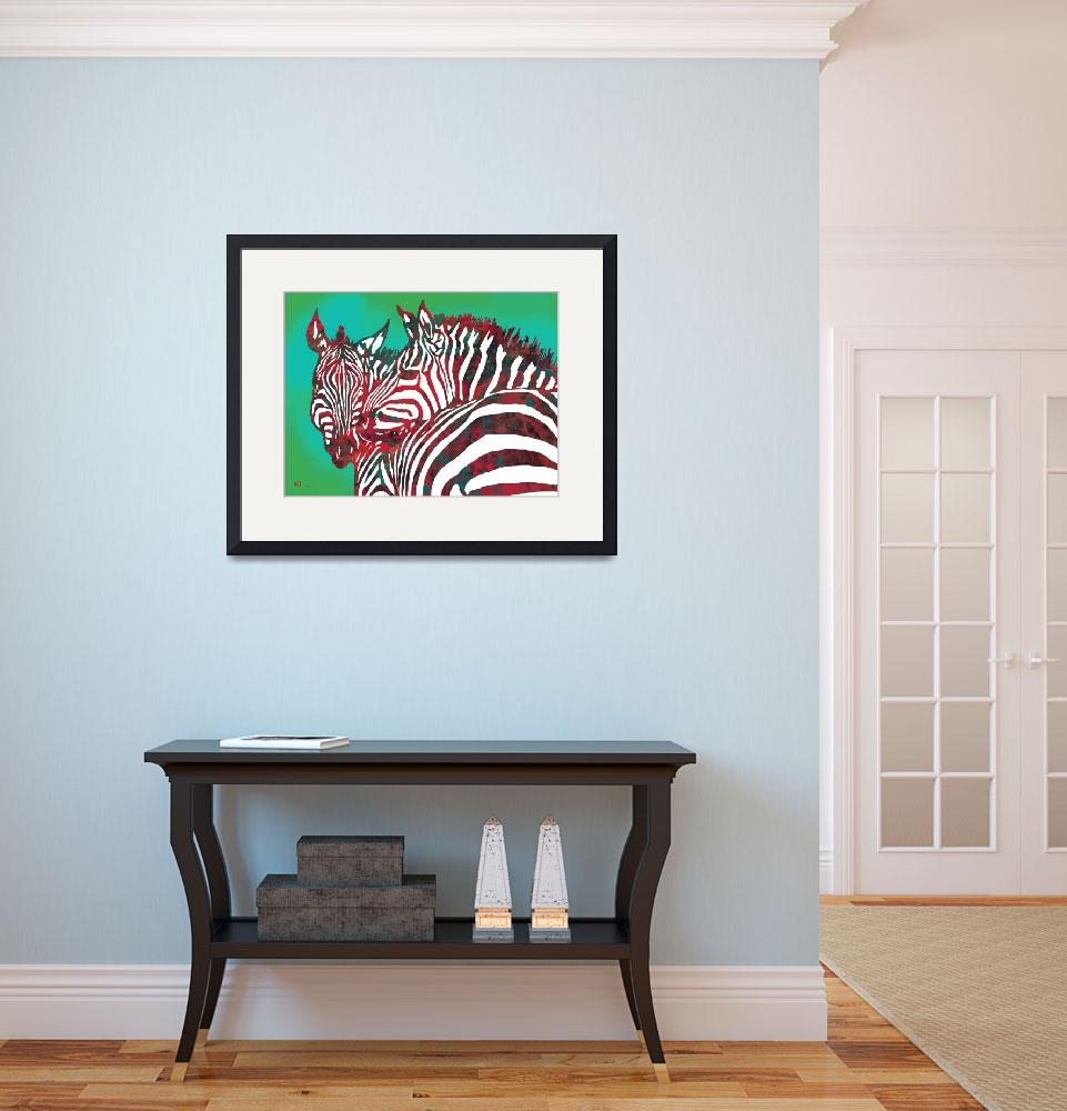 """""""Zebra - stylised drawing art poster""""  (2014) by visualharbour"""