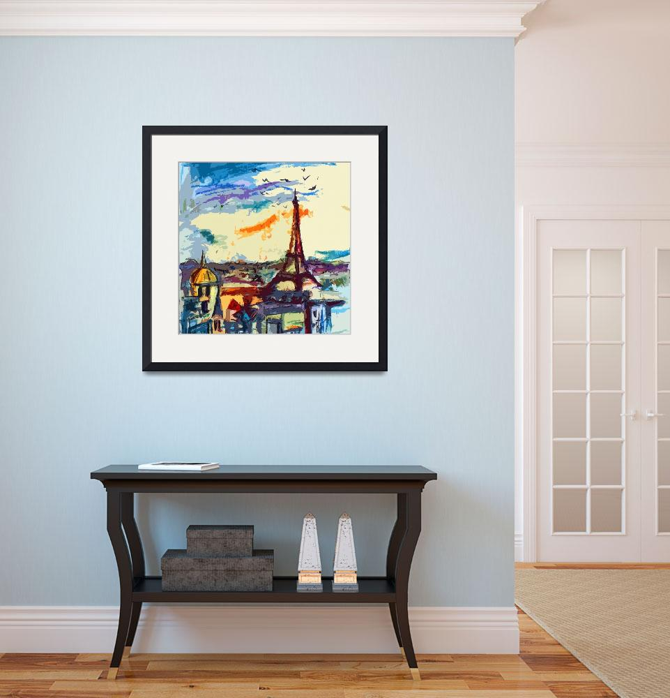 """""""Abstract Decorative Under Paris Skies Cityscape""""  (2013) by GinetteCallaway"""