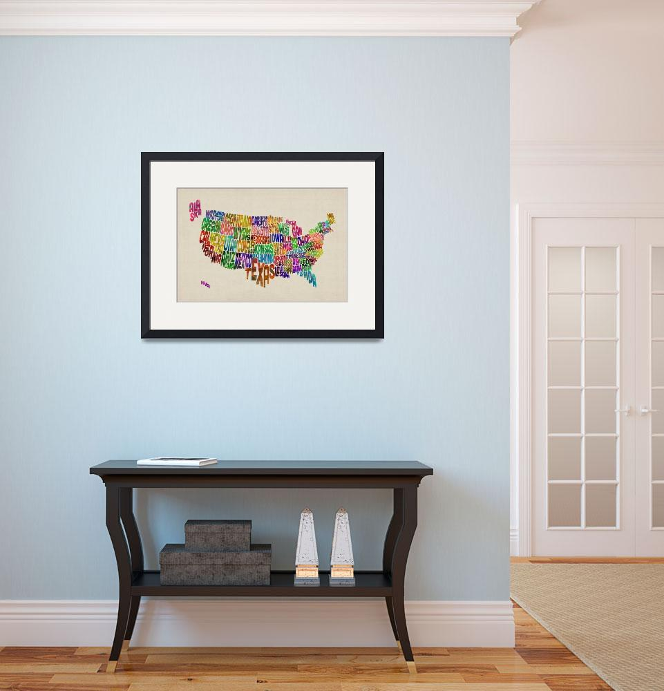 """""""United States Typography Text Map&quot  (2013) by ModernArtPrints"""