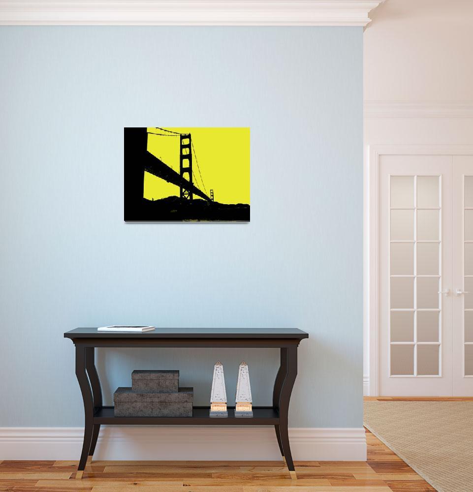 """Glden Gate Bridge in Yellow&quot  (2013) by NKJEK"