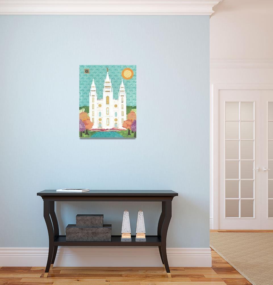 """""""Salt Lake LDS Temple Bright&quot  (2012) by AZeleskiCollages"""