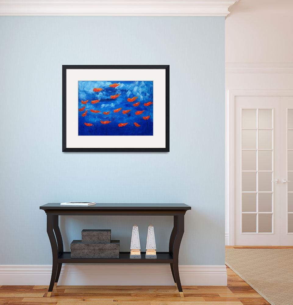 """""""Free spirit poppies on blue&quot  (2007) by mfallinipaintings"""