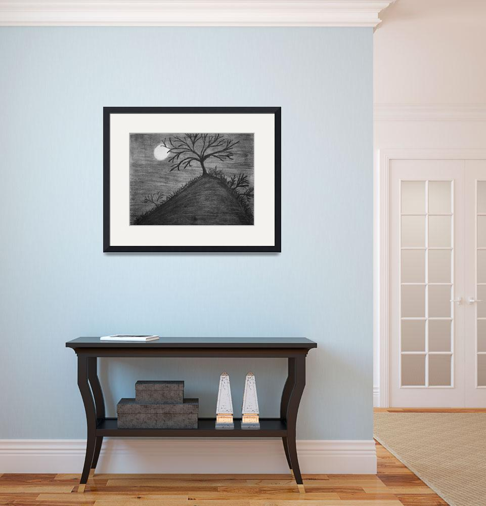 """""""Tree atop of hill&quot  (2012) by MikeMBurkeDesigns"""