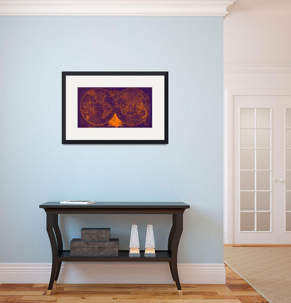 """World Map (1811) Purple & Orange&quot  by Alleycatshirts"