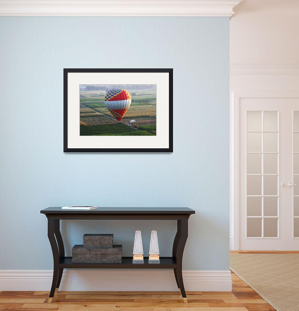 """""""Balloon landing in the corn fields of Luxor&quot  (2008) by CarrieWaters"""