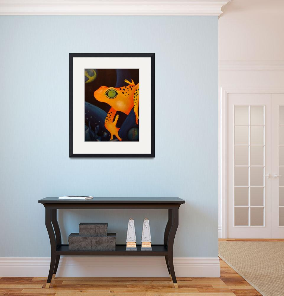 """""""Yellow Green Eyed Dart Frog in the Night&quot  (2007) by mmm"""