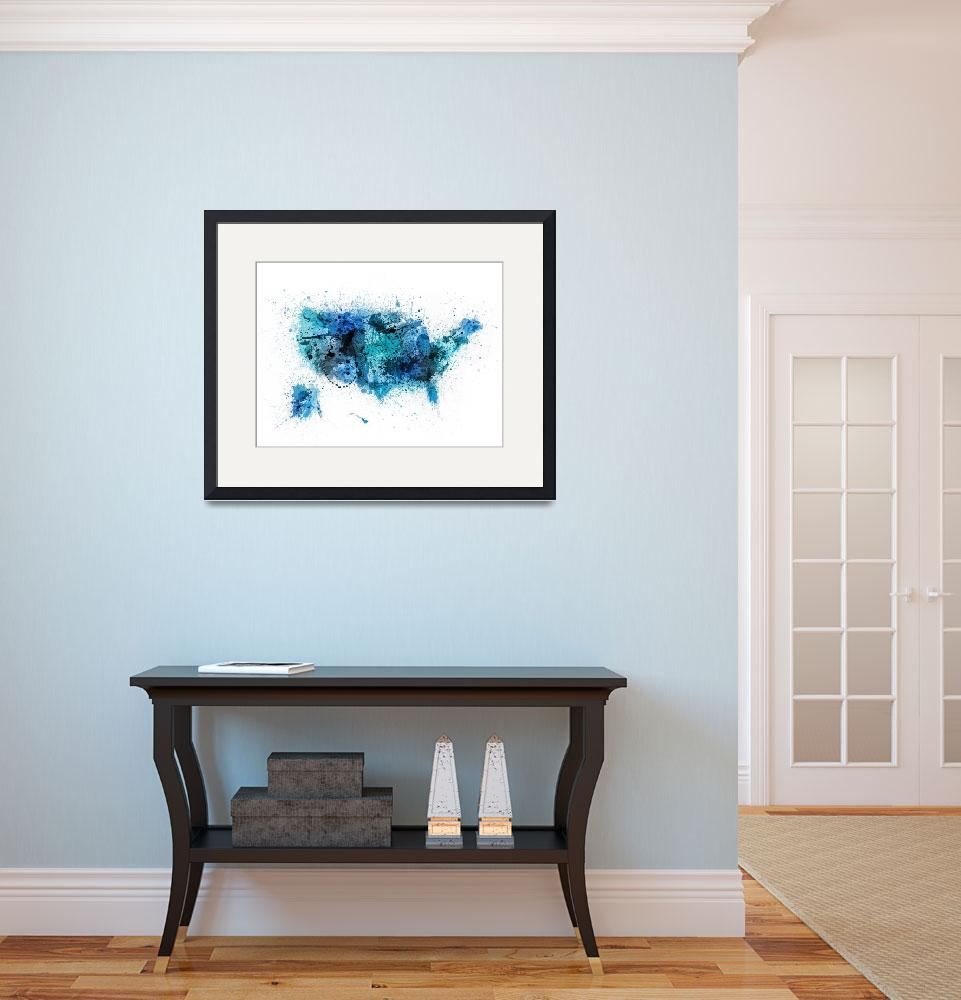 """""""United States Paint Splashes Map&quot  (2015) by ModernArtPrints"""