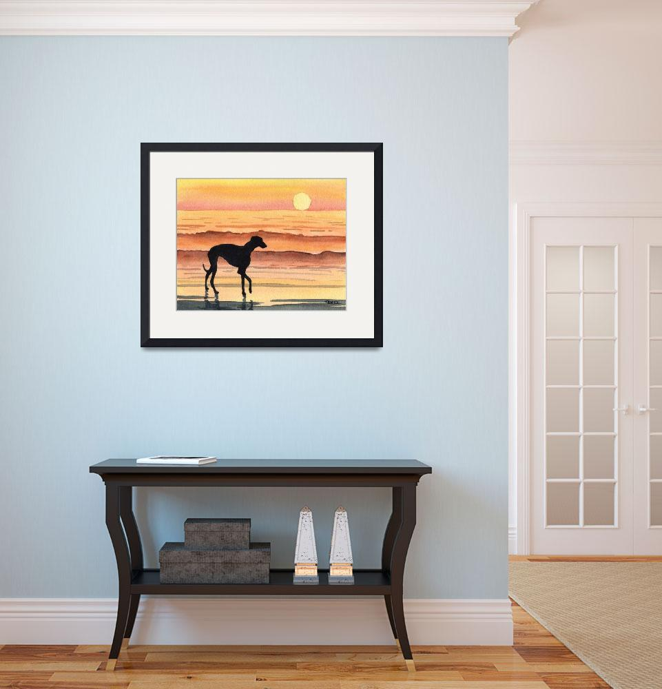 """""""Greyhound Sunset&quot  (2015) by k9artgallery"""
