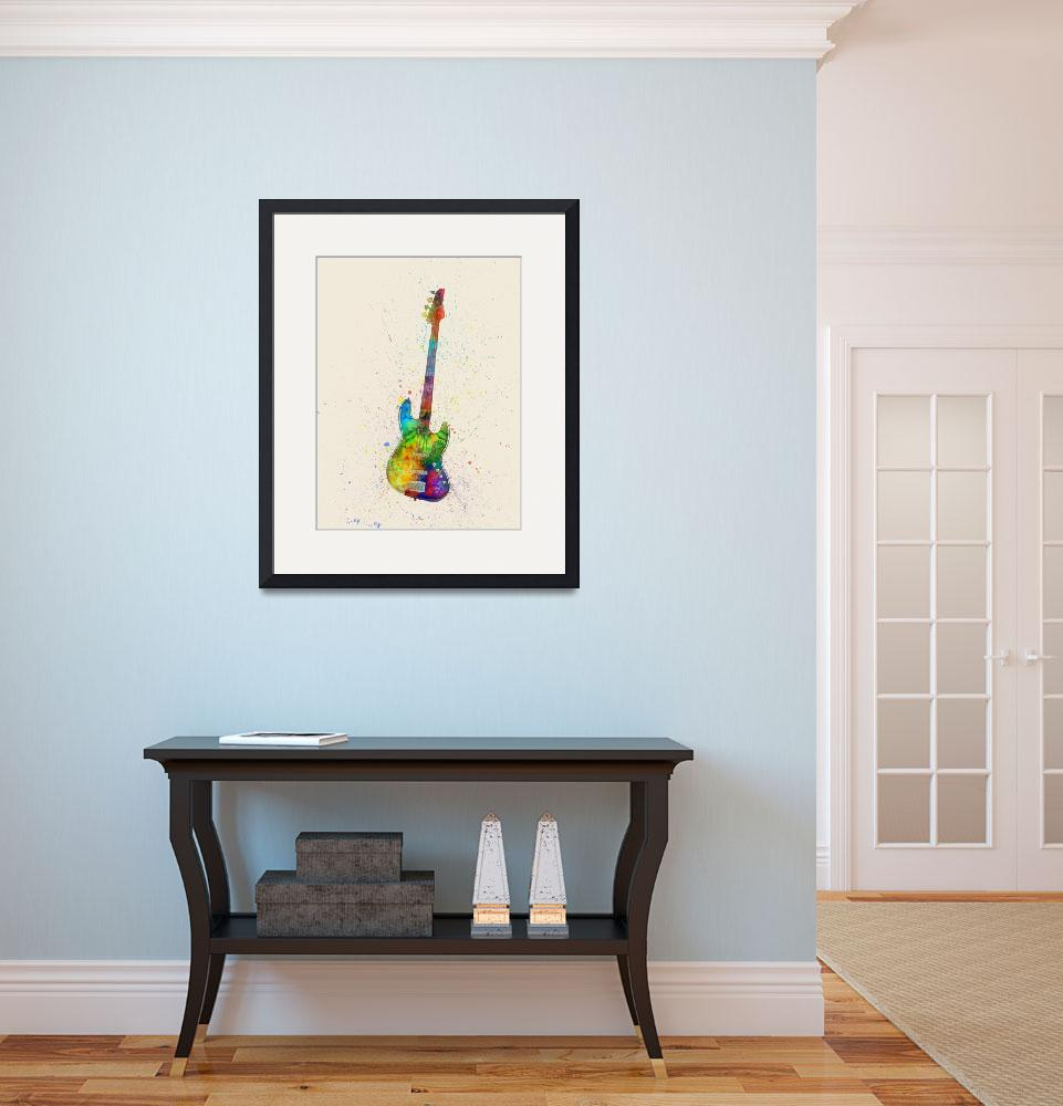 """Electric Bass Guitar Abstract Watercolor""  (2015) by ModernArtPrints"