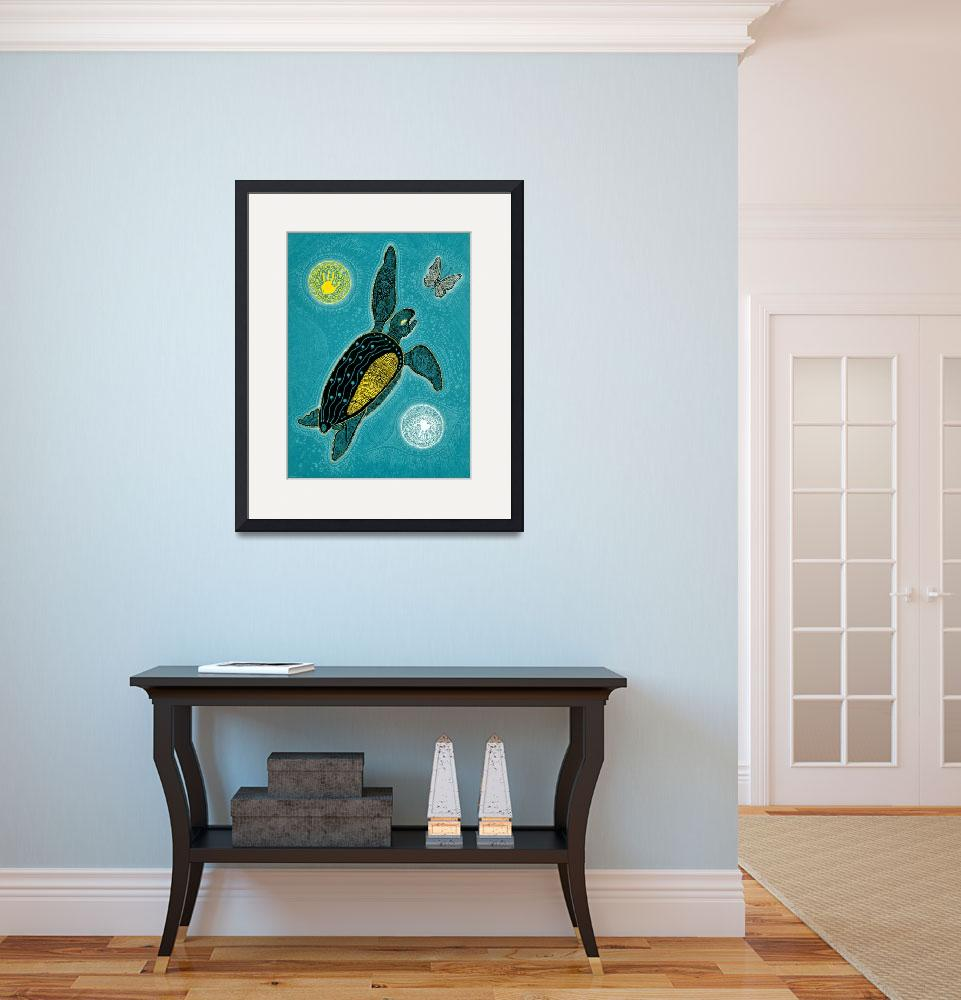 """""""Sea Turtle and the Butterfly&quot  (2009) by MickSylvestre"""