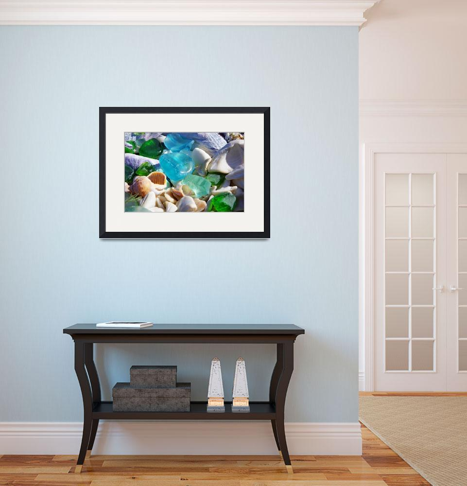 """Seaglass Shells Blue Green Sea Glass Art Prints&quot  (2014) by BasleeTroutman"