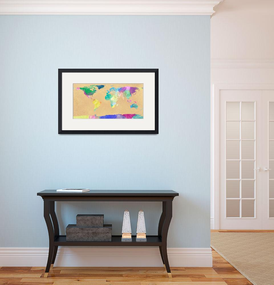 """""""watercolor world map 1&quot  (2012) by gsquared"""