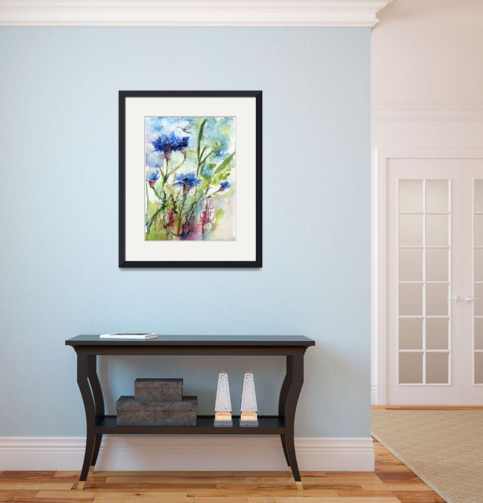"""""""Cornflowers Wildflower Watercolor by Ginette&quot  (2011) by GinetteCallaway"""