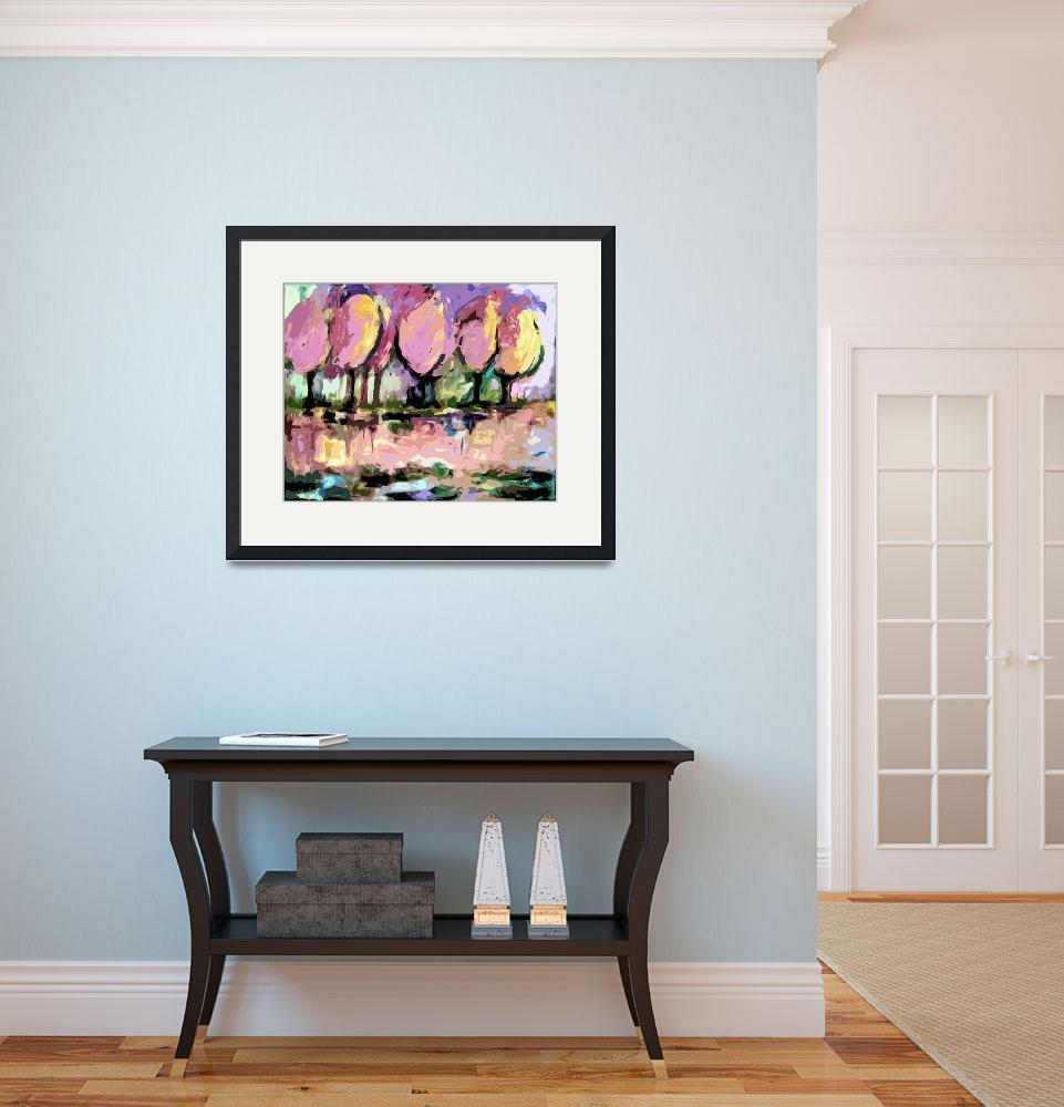 """""""Pink Trees Abstract Landscape by Ginette&quot  (2012) by GinetteCallaway"""