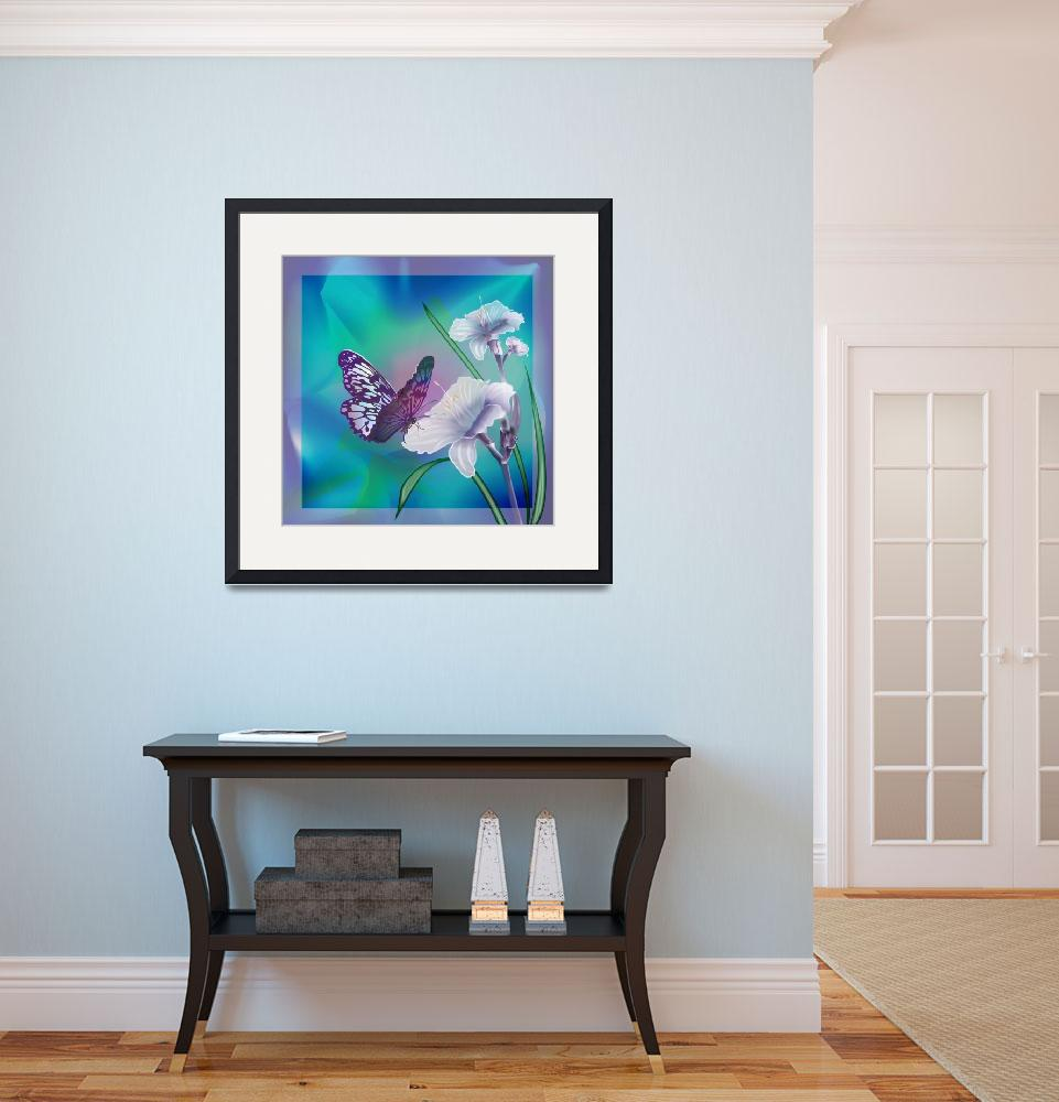 """""""Lilies with dancing butterfly&quot  (2013) by Unique_designs"""