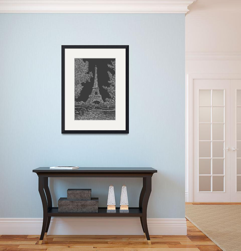 """""""Eiffel Tower Seine RIver Light Grey Charcoal""""  (2013) by TheNorthernTerritory"""