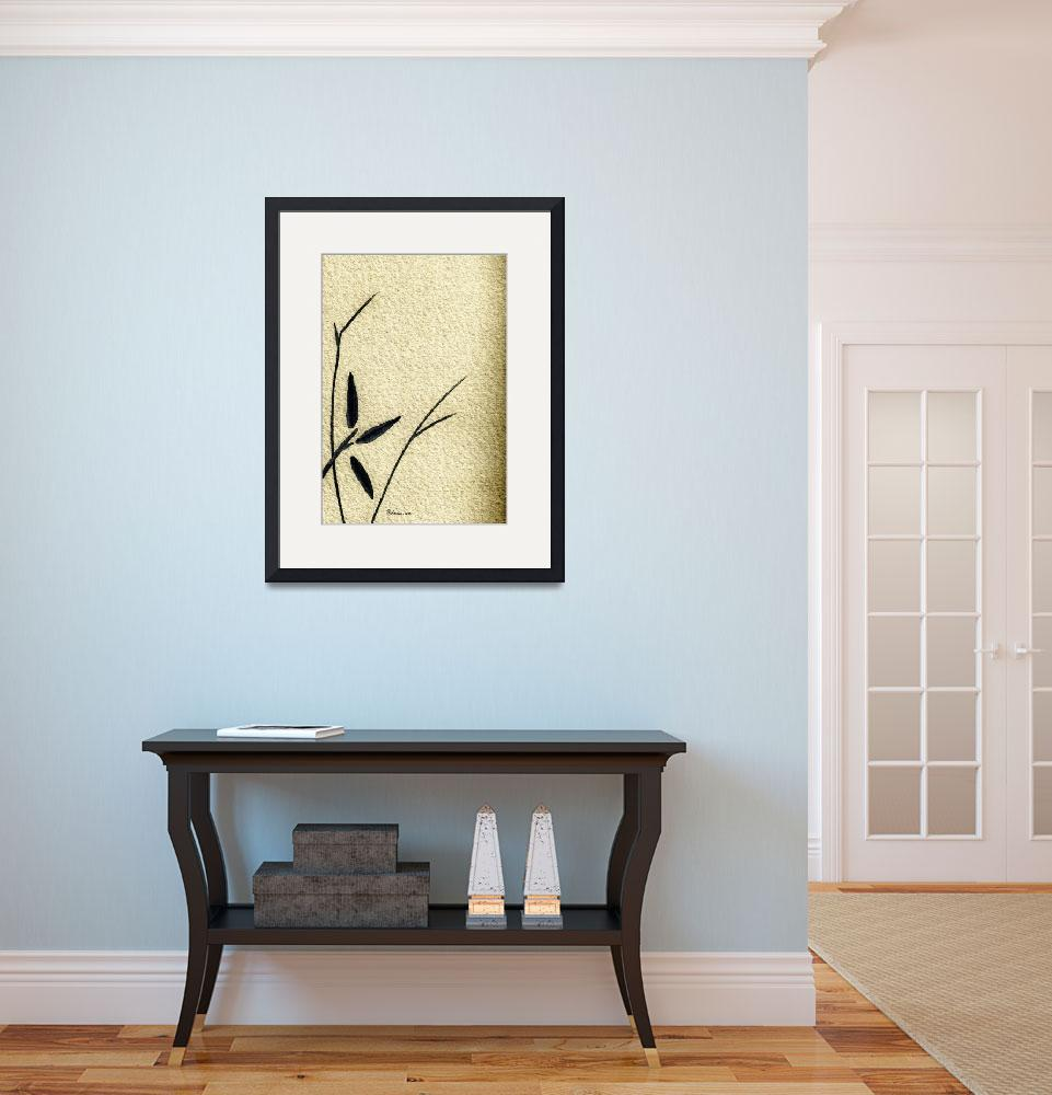 """""""Zen Sumi Antique Flower 4a Ink on Watercolor Paper&quot  (2011) by Ricardos"""