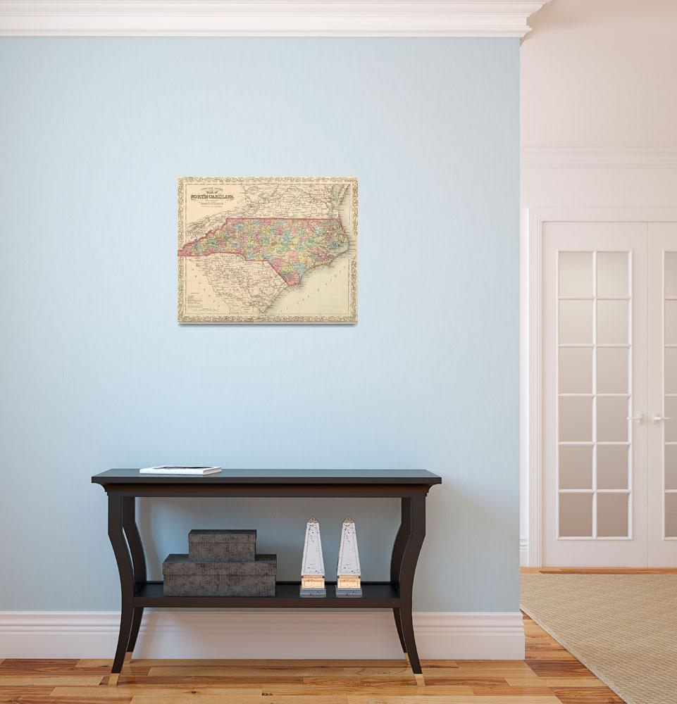 """Vintage Map of North Carolina (1859)&quot  by Alleycatshirts"