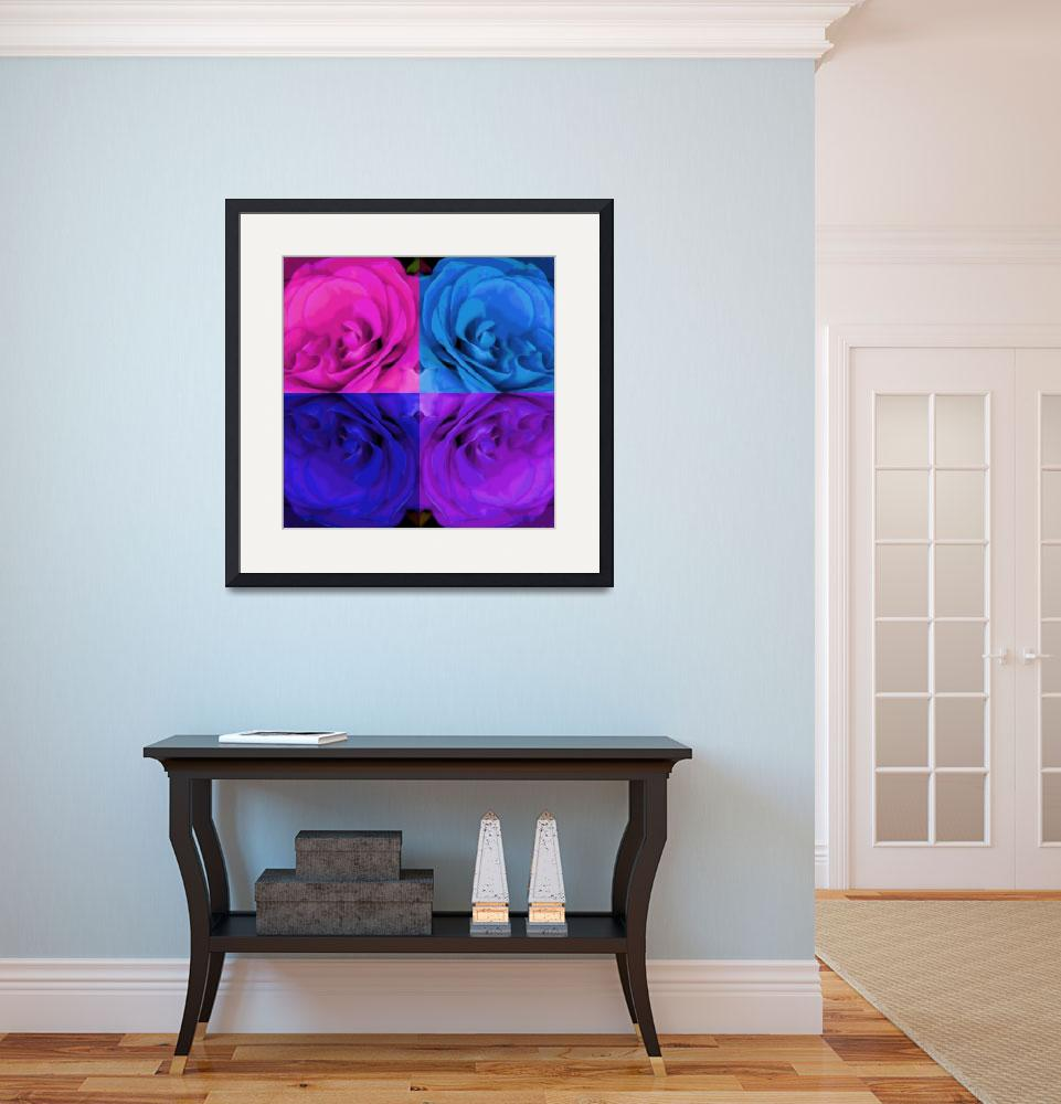 """""""Majid 4x4 Rose pink purple blue center rotated&quot  (2009) by LeslieTillmann"""
