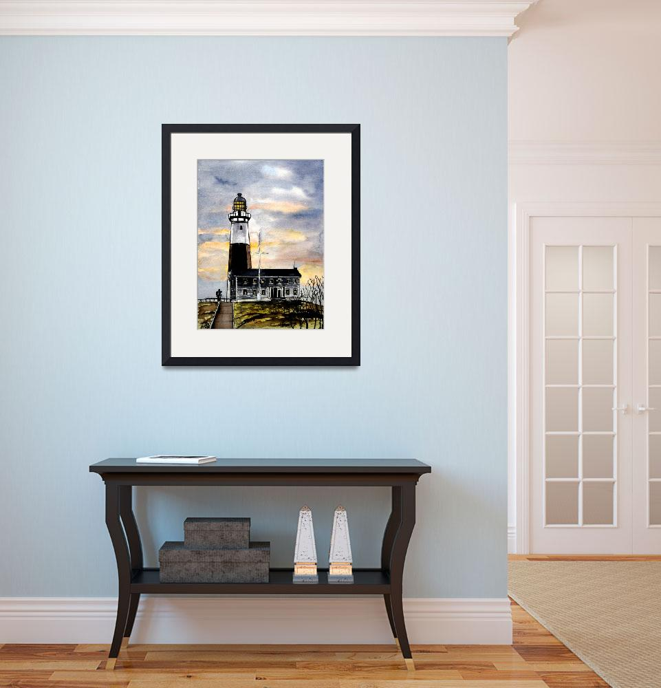 """montauk point lighthouse painting new york art""  (2008) by derekmccrea"