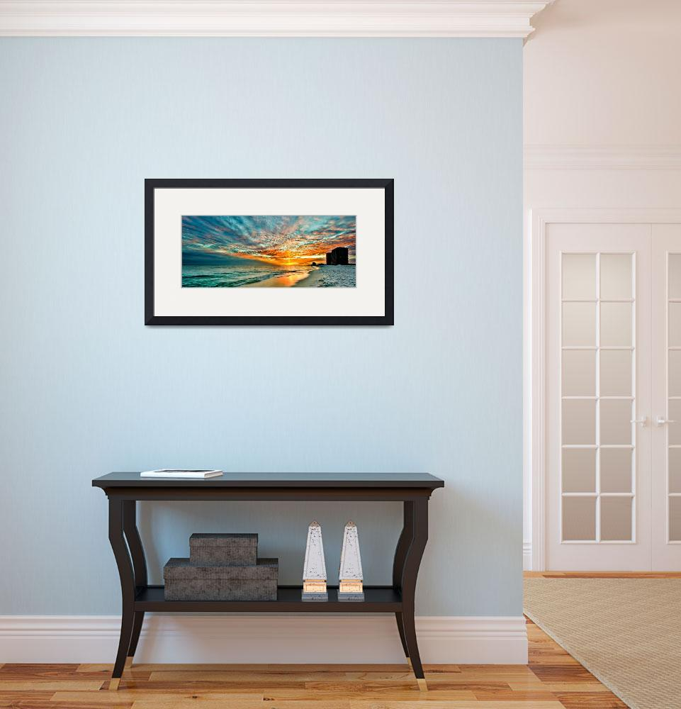 """""""panoramic sunset red ray blue sky art print""""  (2014) by eszra"""