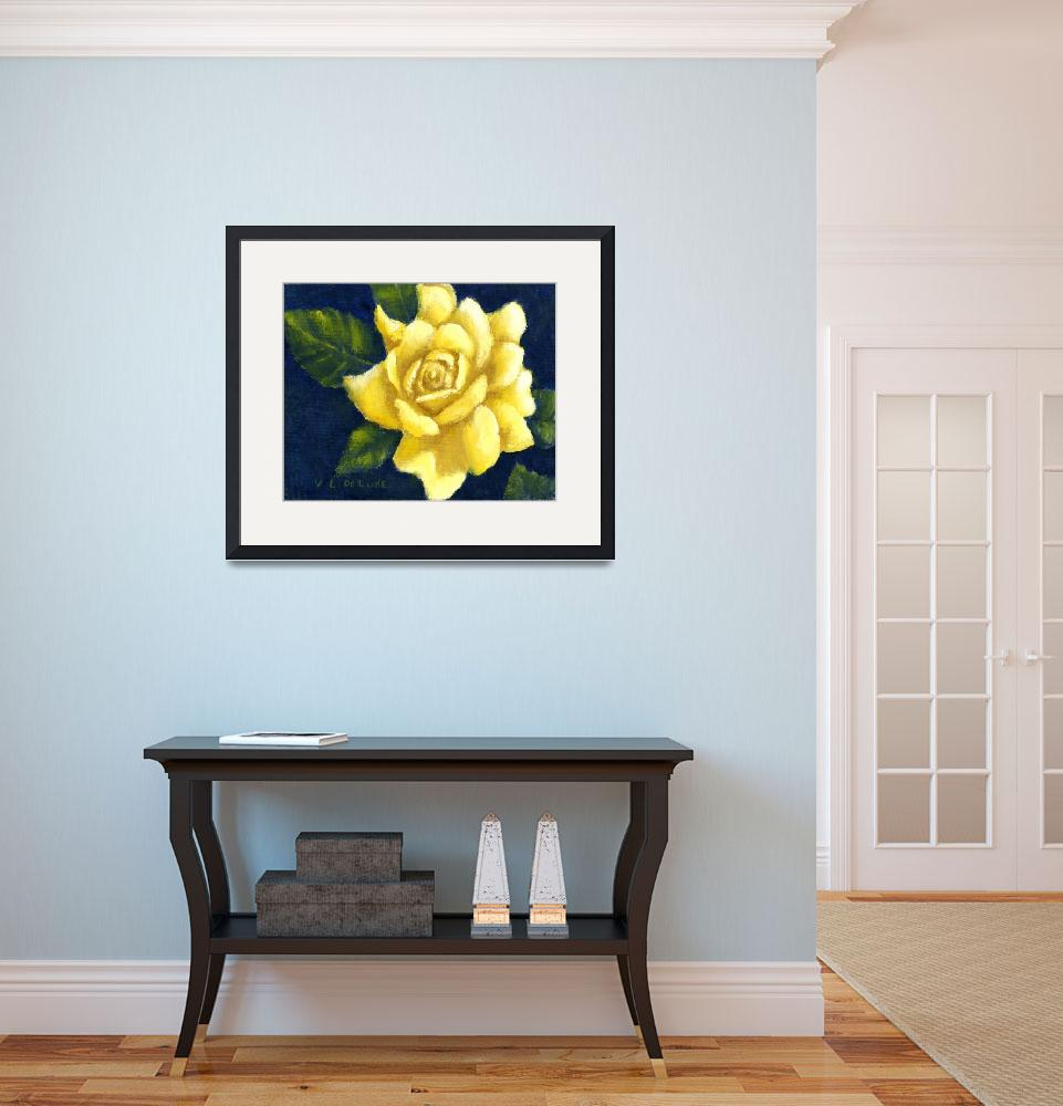 """""""Yellow Rose Art in Blue&quot  (2003) by Lenora"""