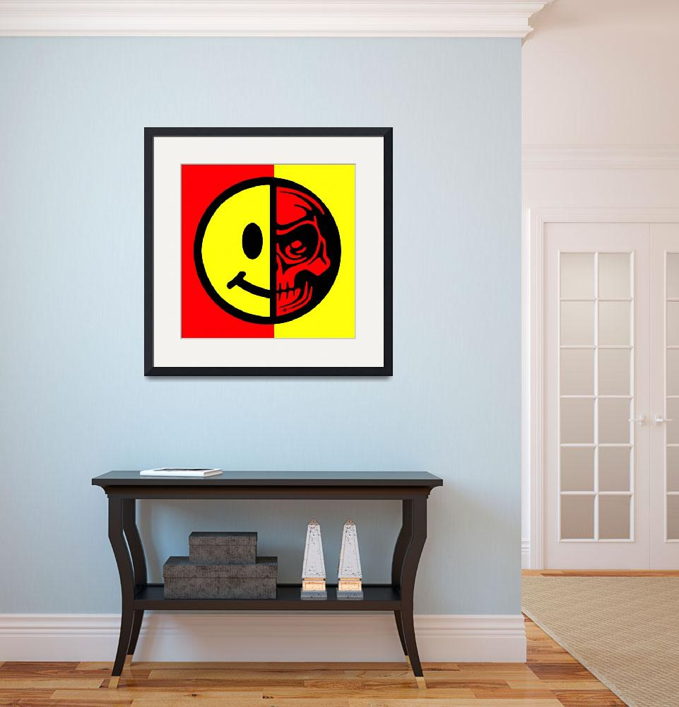 """""""Smiley Face Skull Yellow Red&quot  (2018) by RubinoFineArt"""