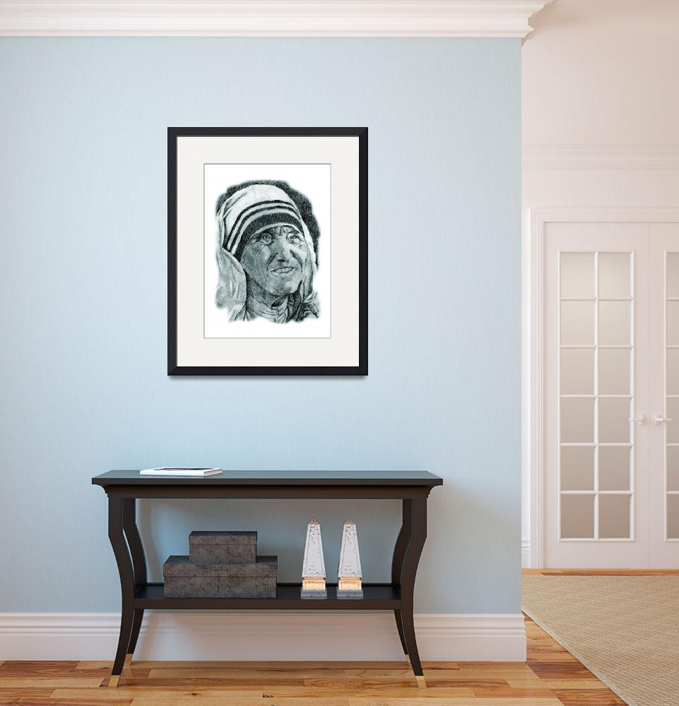 """Hand Drawn Portrait of Mother Teresa&quot  by CreativeArtisticNuance"