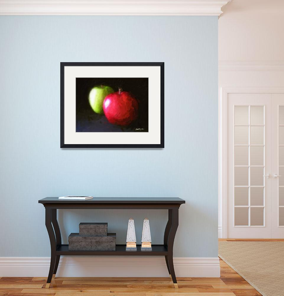 """""""Red and Green Apples 3 Painterly&quot  (2010) by ChristopherInMexico"""