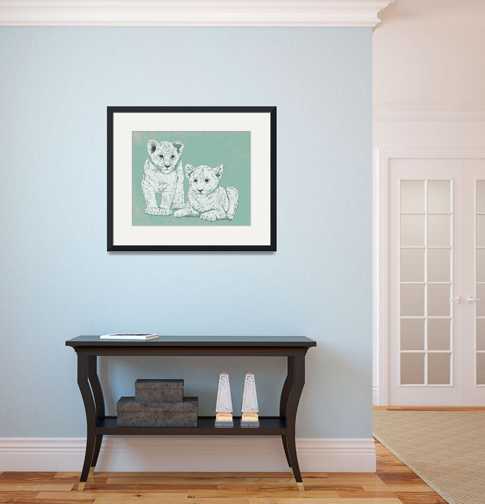 """Lion Cubs in Mint Green&quot  (2014) by Littlepig"