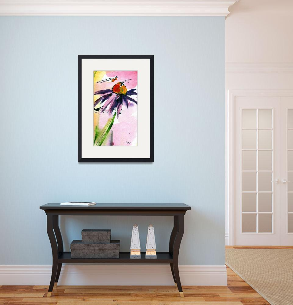 """Macro Coneflower Watercolor by Ginette&quot  (2011) by GinetteCallaway"