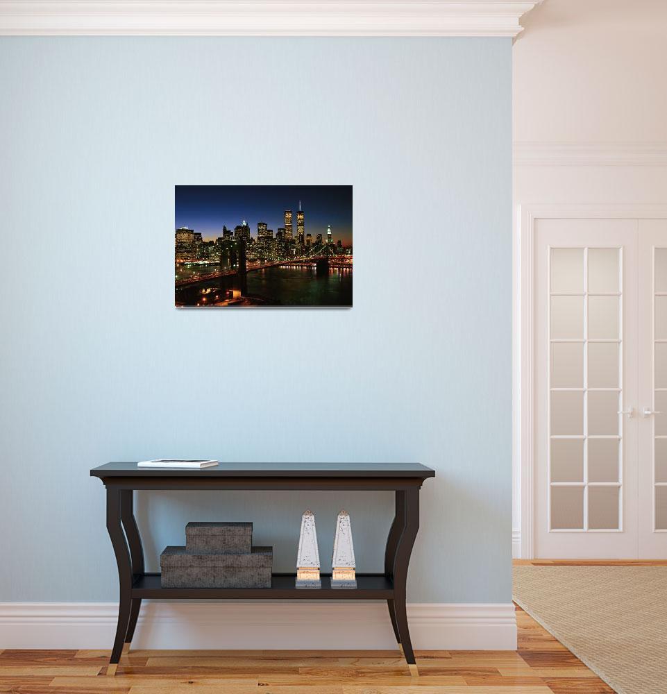 """Brooklyn Bridge and Manhattan Skyline, NYC&quot  (1998) by Kliman"