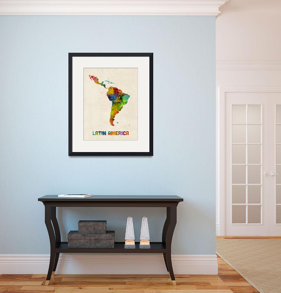 """South America Watercolor Map""  (2017) by ModernArtPrints"