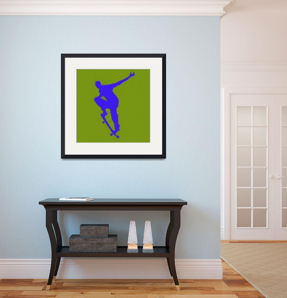 """""""Skateboarder 1 . gold green blue (c)&quot  (2014) by edmarion"""